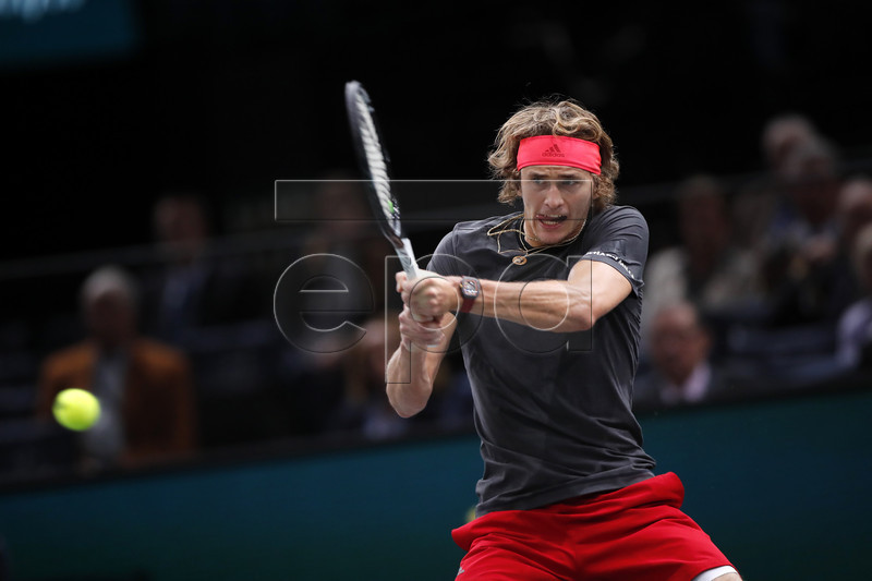Alexander Zverev of Germany in action during his third round match against Diego Schwartzmann (unseen) of Argentina at the Rolex Paris Masters tennis tournament in Paris, France, 01 November 2018. EPA-EFE/CHRISTOPHE PETIT TESSON