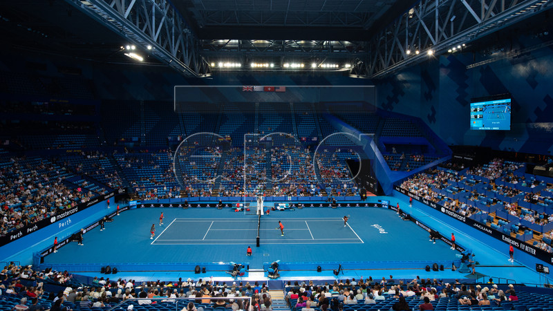 A general view during the mixed doubles match between Serena Williams and Frances Tiafoe of USA and Maria Sakkari and Stefanos Tsitsipas of Greece on day 3 of the Hopman Cup tennis tournament at RAC Arena in Perth, Western Australia, Australia, 31 December 2018. EPA-EFE/RICHARD WAINWRIGHT AUSTRALIA AND NEW ZEALAND OUT EDITORIAL USE ONLY