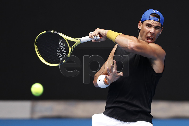 Rafael Nadal of Spain in action during a training session at the Australian Open in Melbourne, Australia, 10 January 2019. EPA-EFE/DANIEL POCKETT AUSTRALIA AND NEW ZEALAND OUT