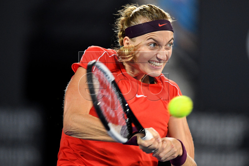Petra Kvitova of the Czech Republic in action against Angelique Kerber of Germany during their quarter final match at the Sydney International tennis tournament in Sydney, New South Wales, Australia, 10 January 2019. EPA-EFE/DAN HIMBRECHTS AUSTRALIA AND NEW ZEALAND OUT