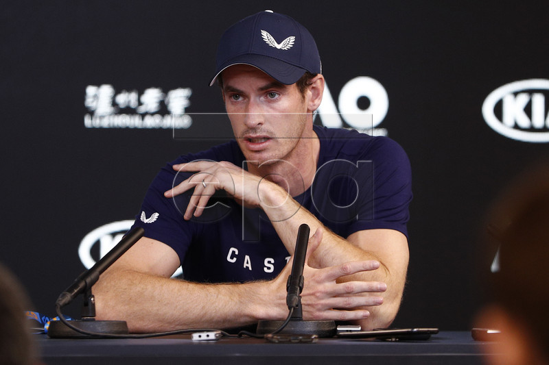 Andy Murray of Britain speaks to the media during a press conference ahead of the start of the Australian Open in Melbourne, Australia, 11 January 2019. Three-time grand-slam champion Andy Murray is weighing up retiring after the Australian Open, admitting he can no longer play at the top level. EPA-EFE/DANIEL POCKETT EDITORIAL USE ONLY NEW ZEALAND OUT