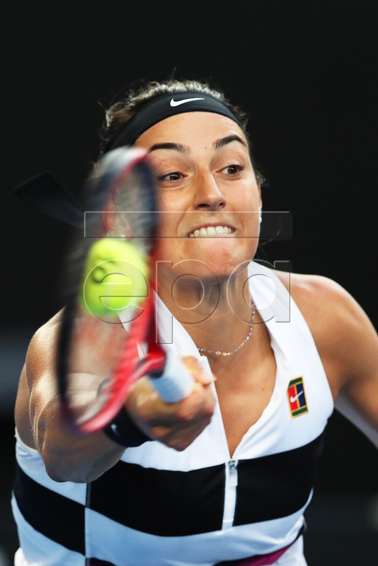 Caroline Garcia of France in action against Danielle Collins of the USA during their women's singles third round match of the Australian Open Grand Slam tennis tournament in Melbourne, Australia, 18 January 2019. EPA-EFE/DAVID CROSLING AUSTRALIA AND NEW ZEALAND OUT