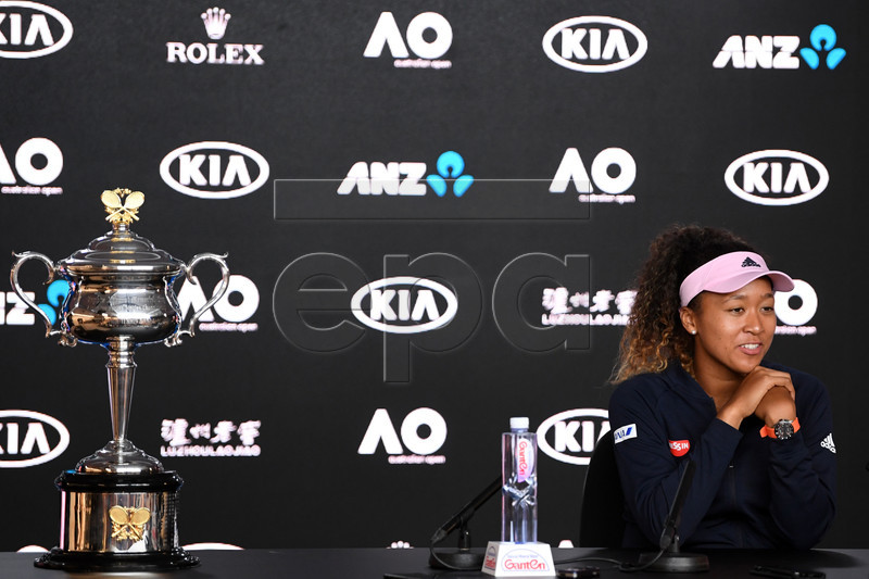 Naomi Osaka of Japan speaks to the media after winning the women's singles final against Petra Kvitova of the Czech Republic at the Australian Open Grand Slam tennis tournament in Melbourne, Australia, 26 January 2019.  EPA-EFE/LUKAS COCH EDITORIAL USE ONLY AUSTRALIA AND NEW ZEALAND OUT