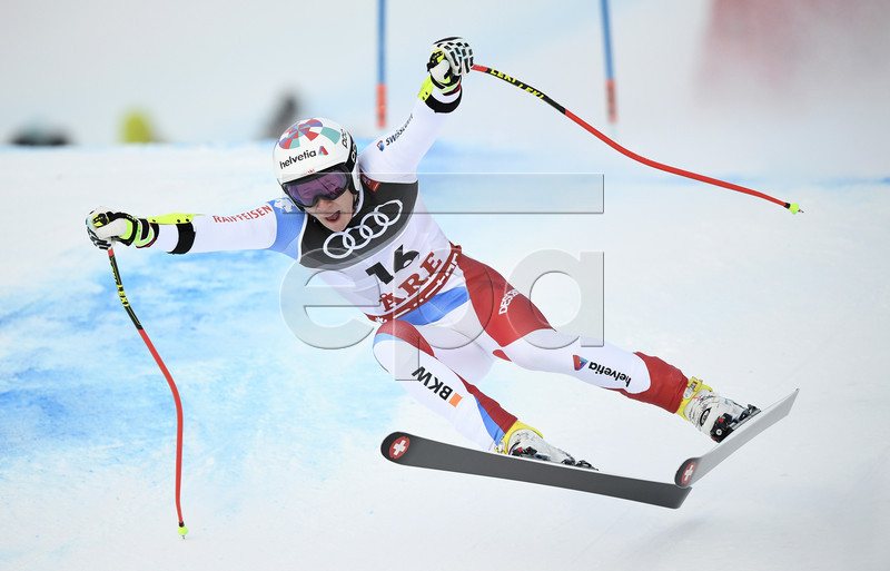 Marco Odermatt of Switzerland in action during the men's Super G race at the FIS Alpine Skiing World Championships in Are, Sweden, 06 February 2019.  EPA-EFE/CHRISTIAN BRUNA