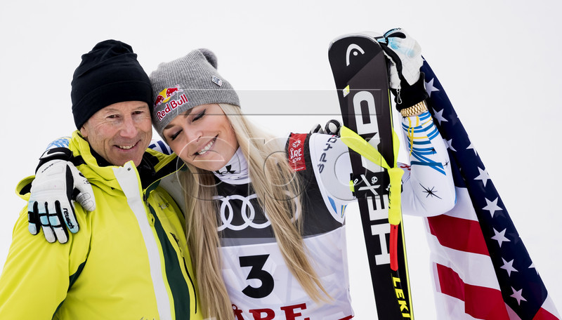 Lindsey Vonn (R) of the USA celebrates with ski legend Ingemar Stenmark of Sweden after the flowers ceremony of the Women's Downhill race at the FIS Alpine Skiing World Championships in Are, Sweden, 10 February 2019.  EPA-EFE/JEAN-CHRISTOPHE BOTT