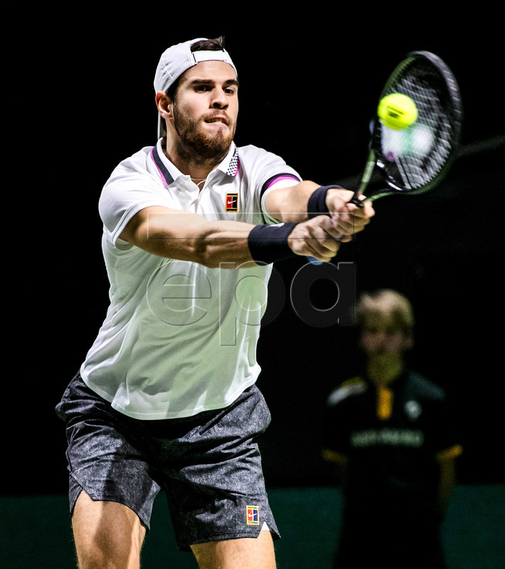 Karen Khachanov of Russia in action against Tallon Griekspoor of the Netherlands  during the first round of the ABN AMRO World Tennis Tournament in Rotterdam, The Netherlands, 12 February 2019.  EPA-EFE/REMKO DE WAAL