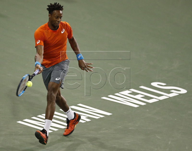 Gael Monfils of France in action against Philipp Kohlschreiber of Germany during the BNP Paribas Open tennis tournament at the Indian Wells Tennis Garden in Indian Wells, California, USA, 13 March 2019. The men's and women's final will be played, 17 March 2019. EPA-EFE/LARRY W. SMITH