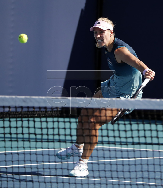 Angelique Kerber of Germany in action against Karolina Muchova of the Czech Republic during their women's singles match at the Miami Open tennis tournament in Miami, Florida, USA, 22 March 2019.  EPA-EFE/JASON SZENES