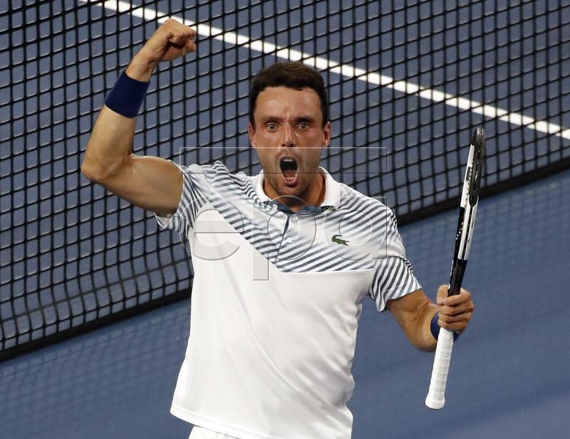 Roberto Bautista Agut of Spain reacts after defeating Novak Djokovic of Serbia during their men's singles match at the Miami Open tennis tournament in Miami, Florida, USA, 26 March 2019. EPA-EFE/JASON SZENES