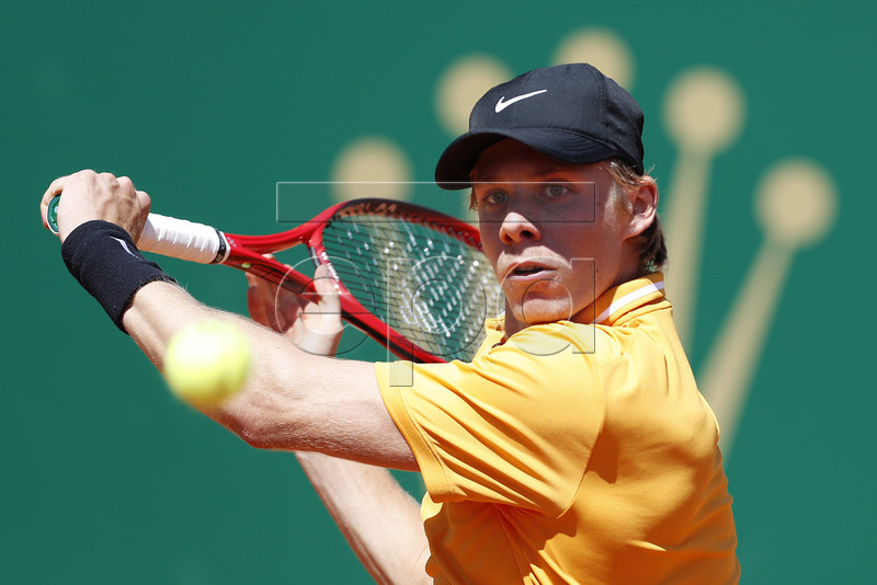 Denis Shapovalov of Canada in action during his first round match against Jan-Lennard Struff of Germany at the Monte-Carlo Rolex Masters tournament in Roquebrune Cap Martin, France, 15 April 2019. EPA-EFE/SEBASTIEN NOGIER