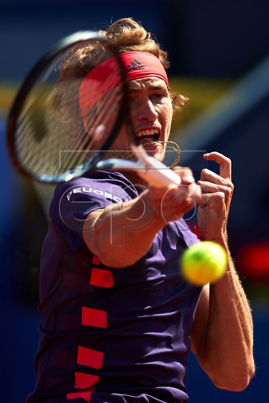 Alexander Zverev of Germany in action during his second round men's single match against Nicolas Jarry of Chile at the 67th Barcelona Open Trofeo Conde de Godo tennis tournament in Barcelona, Spain, 23 April 2019.  EPA-EFE/ALEJANDRO GARCIA