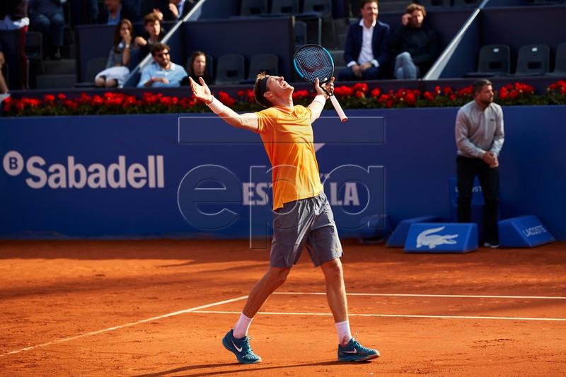 Nicolas Jarry of Chile celebrates his victory over Alexander Zverev of Germany after their second round men's single match of the 67th Barcelona Open Trofeo Conde de Godo tennis tournament in Barcelona, Spain, 23 April 2019.  EPA-EFE/Alejandro Garcia