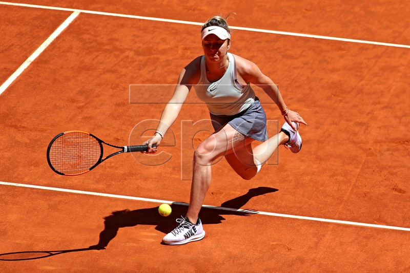 Ukraine's Elina Svitolina in action during her first round match against France's Pauline Parmentier at the Mutua Madrid Open tennis tournament, in Madrid, Spain, 05 May 2019. EPA-EFE/CHEMA MOYA