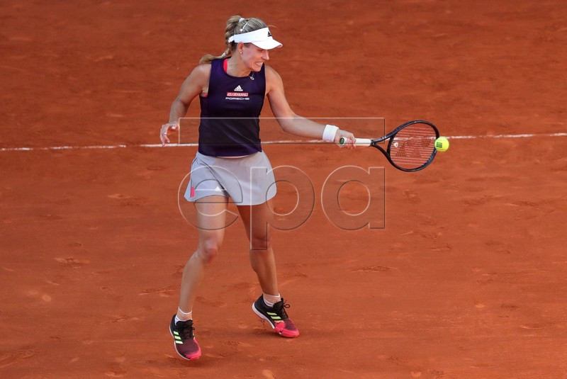 Angelique Kerber from Germany in action during her first round match against Lesia Tsurenko of Ukraine at the Mutua Madrid Open tennis tournament, in Madrid, Spain, 05 May 2019. EPA-EFE/JUANJO MARTIN