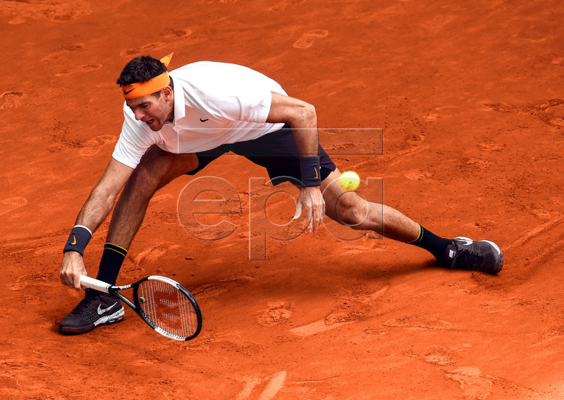 Argentina's Juan Martin del Potro in action during his second round match against Serbia's Laslo Djere at the Mutua Madrid Open tennis tournament, in Madrid, Spain, 08 May 2019. EPA-EFE/FERNANDO VILLAR