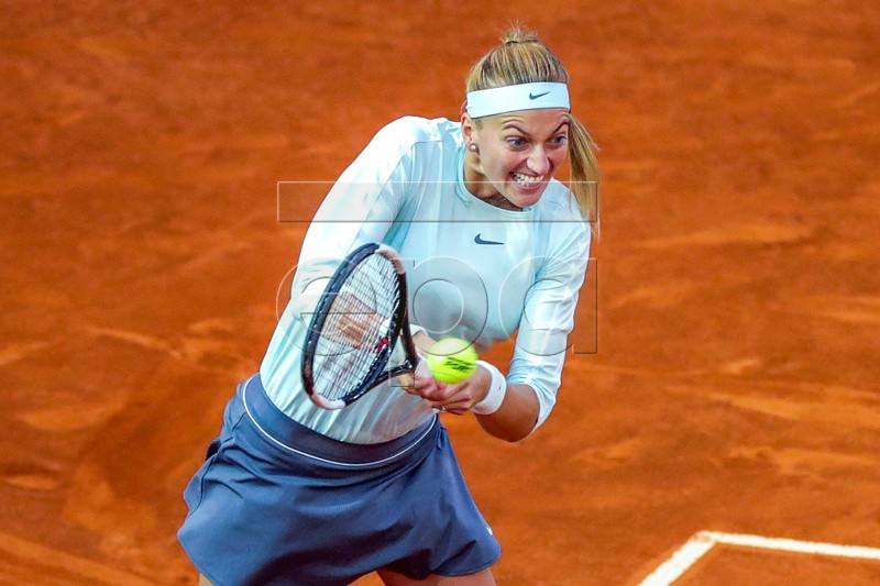 Czech player Petra Kvitova in action during her match against French player Caroline Garcia at the Mutua Madrid Open tennis tournament, in Madrid, Spain, 08 May 2019. EPA-EFE/JUANJO MARTIN