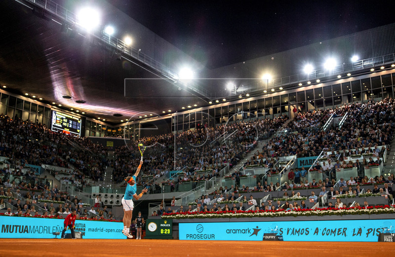 Rafa Nadal of Spain in action against Stefanos Tsitsipas of Greece during their Mutua Madrid Open tennis semi final game at Caja Magica, in Madrid, Spain, 11 May 2019. EPA-EFE/Rodrigo Jimenez