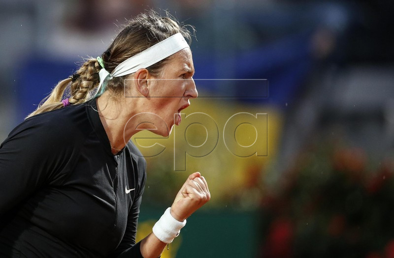 Victoria Azarenka of Belarus reacts during her women's singles second round match  against Elina Svitolina of Ukraine at the Italian Open tennis tournament in Rome, Italy, 14 May 2019.  EPA-EFE/RICCARDO ANTIMIANI