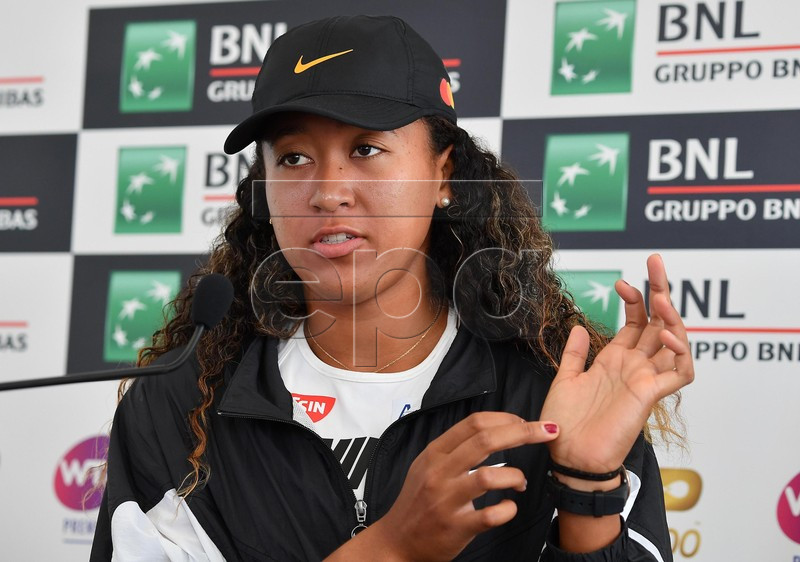 Naomi Osaka of Japan holds a press conference at the Italian Open tennis tournament in Rome, Italy, 17 May 2019. Top-ranked Osaka withdrew from her quarterfinal match on 16 May 2019 due to a hand injury.  EPA-EFE/ETTORE FERRARI