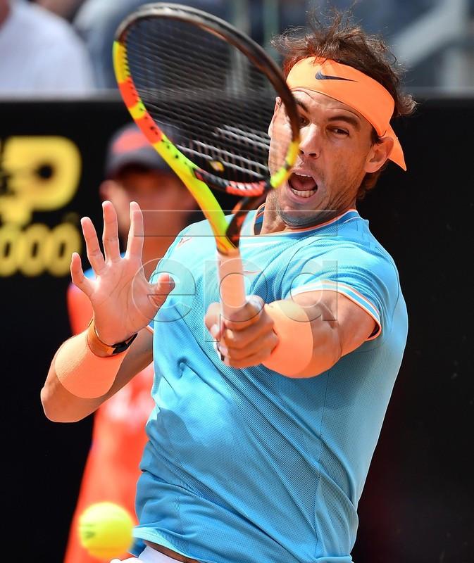 Rafael Nadal of Spain in action during his men's singles quarterfinal match against Fernando Verdasco of Spain at the Italian Open tennis tournament in Rome, Italy, 17 May 2019.  EPA-EFE/ETTORE FERRARI