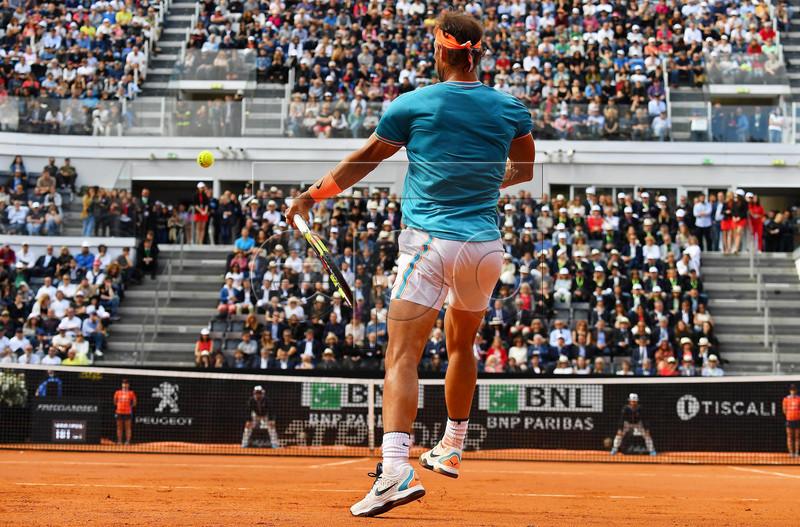 Rafael Nadal of Spain in action against Novak Djokovic of Serbia during their men's singles final match at the Italian Open tennis tournament in Rome, Italy, 19 May 2019.  EPA-EFE/ETTORE FERRARI