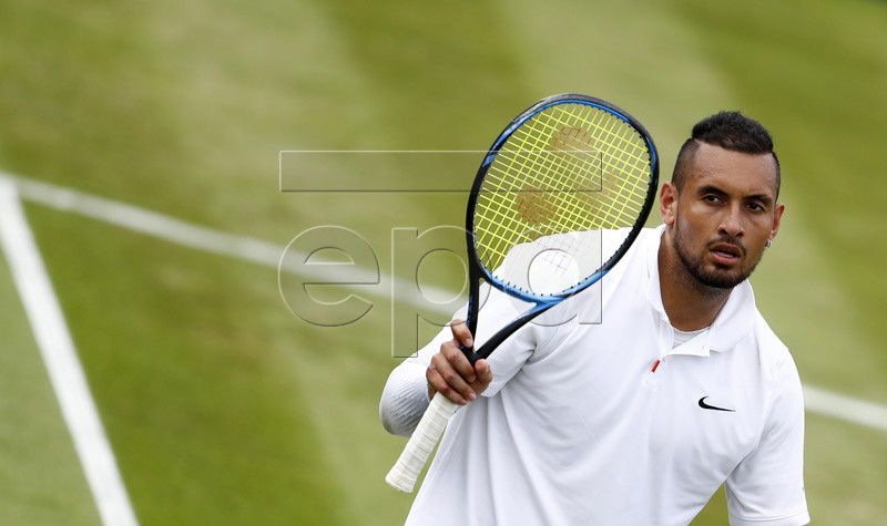 Nick Kyrgios of Australia celebrates winning against Jordan Thompson of Australia during their first round match at the Wimbledon Championships at the All England Lawn Tennis Club, in London, Britain, 02 July 2019. EPA-EFE/NIC BOTHMA EDITORIAL USE ONLY/NO COMMERCIAL SALES
