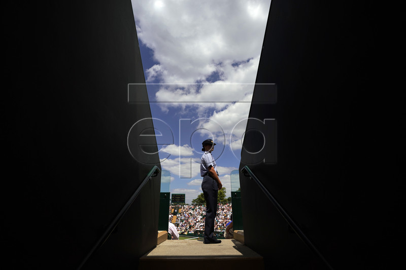 Security on a show court during the Wimbledon Championships at the All England Lawn Tennis Club, in London, Britain, 03 July 2019. EPA-EFE/WILL OLIVER EDITORIAL USE ONLY/NO COMMERCIAL SALES