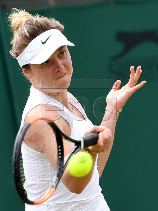 Elina Svitolina of Ukraine in action against Petra Martic of Croatia during their fourth round match for the Wimbledon Championships at the All England Lawn Tennis Club, in London, Britain, 08 July 2019. EPA-EFE/FACUNDO ARRIZABALAGA EDITORIAL USE ONLY/NO COMMERCIAL SALES