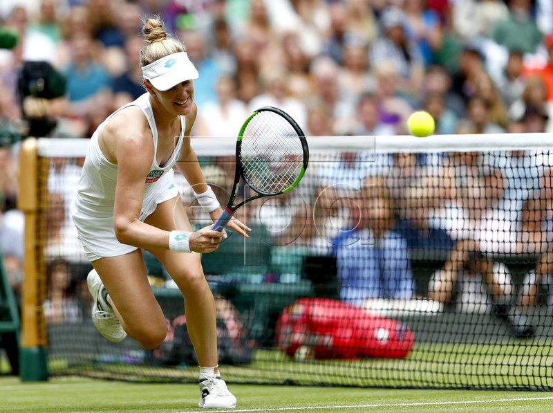 Alison Riske of the USA in action against Serena Williams of the USA during their quarter final match for the Wimbledon Championships at the All England Lawn Tennis Club, in London, Britain, 09 July 2019. EPA-EFE/NIC BOTHMA EDITORIAL USE ONLY/NO COMMERCIAL SALES