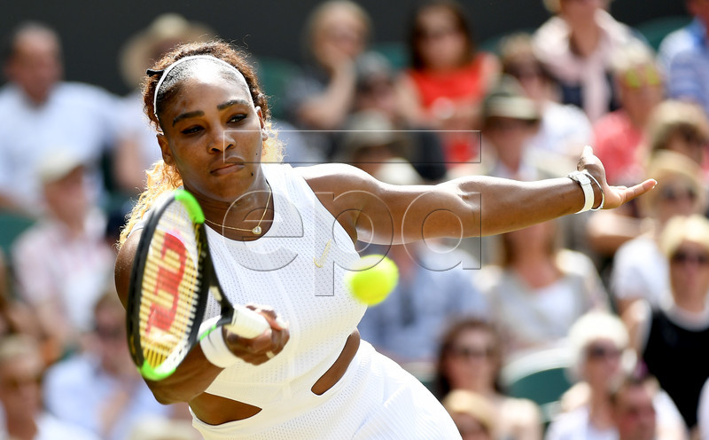 Serena Williams of the USA in action against Barbora Strycova of the Czech Republic during their semi final match for the Wimbledon Championships at the All England Lawn Tennis Club, in London, Britain, 11 July 2019. EPA-EFE/ANDY RAIN EDITORIAL USE ONLY/NO COMMERCIAL SALES