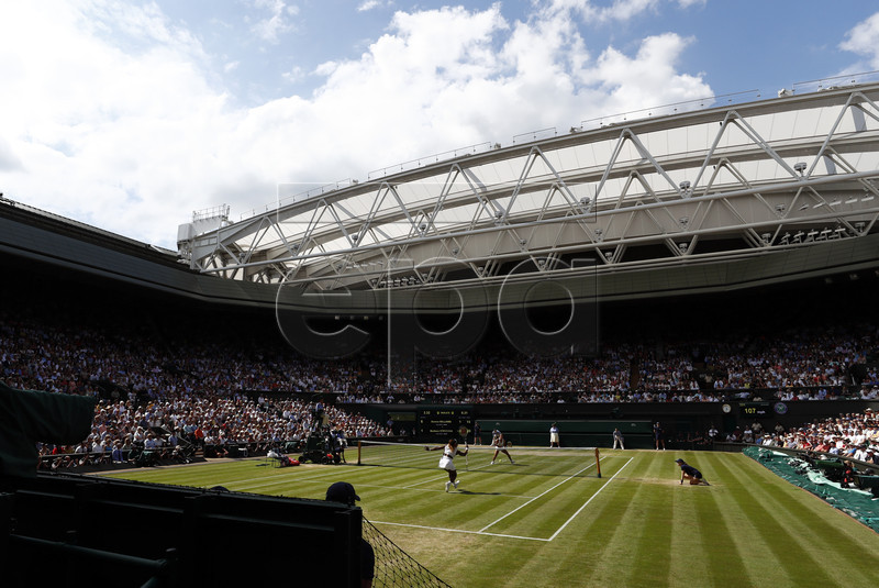 Serena Williams of the US returns to Barbora Strycova of the Czech Republic in their semi final match during the Wimbledon Championships at the All England Lawn Tennis Club, in London, Britain, 11 July 2019. EPA-EFE/NIC BOTHMA EDITORIAL USE ONLY/NO COMMERCIAL SALES
