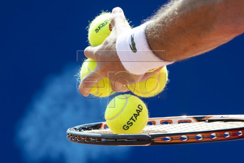 Pablo Andujar of Spain in action against Dennis Novak of Austria during their first round match at the Swiss Open tennis tournament in Gstaad, Switzerland, 22 July 2019. EPA-EFE/PETER SCHNEIDER